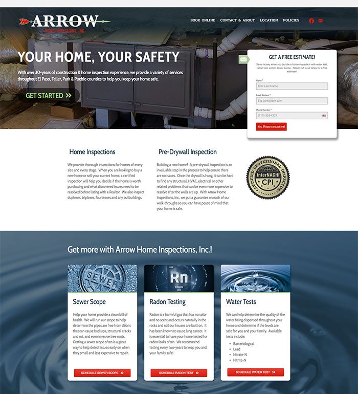 Arrow Home Inspections Web Site Design and Build